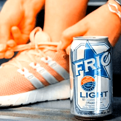 Enjoy FRIO Light Beer Can and the Shoe