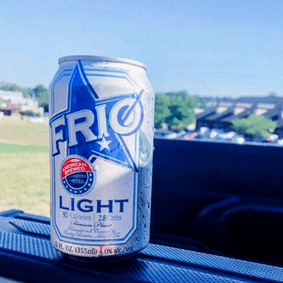 Enjoy FRIO light beer can on Truck